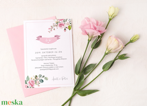 Esküvői meghívó • rózsa (kejti) - Meska.hu