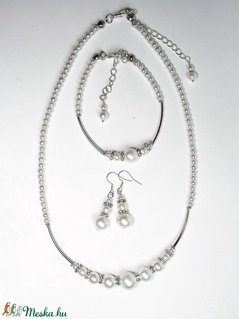 Karina - Modern, alkalmi gyöngyékszer szett - nyaklánc, karkötő, fülbevaló - Menyasszonyi ékszer - Meska.hu