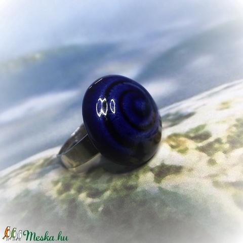 Spirál mintás kék mázas kerámia gyűrű - Meska.hu