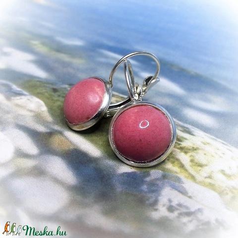 Rózsaszín franciakapcsos, tányéros fülbevaló kerámiából - Meska.hu