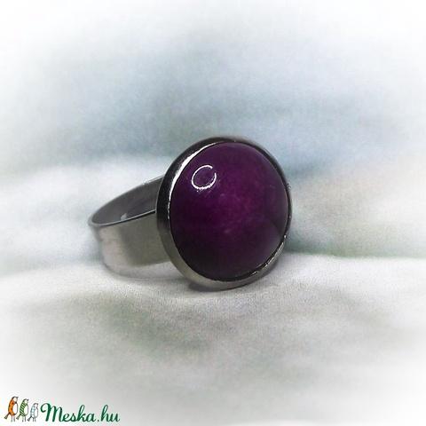 Fényes lila kerámiadíszes nemesacél gyűrű 1,2 - Ajándék lányoknak nőknek névnapra születésnapra - Meska.hu