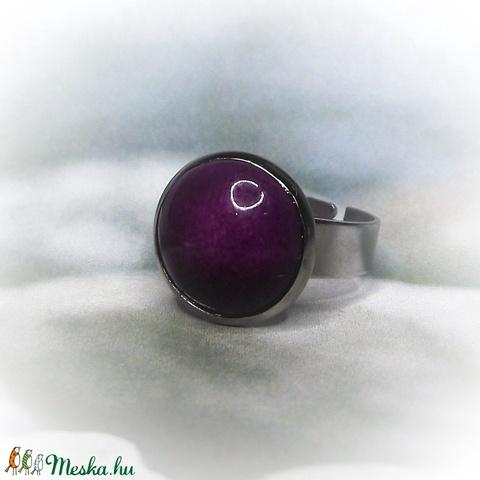 Fényes lila kerámiadíszes nemesacél gyűrű 1,2 - Ajándék lányoknak nőknek névnapra születésnapra (keramika) - Meska.hu