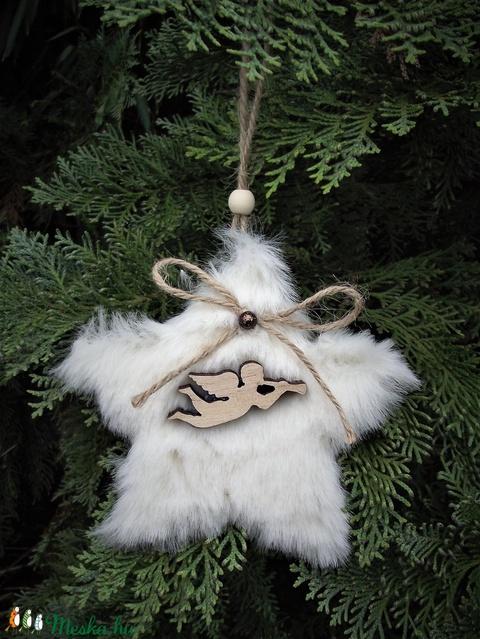Téli dekoráció szőrmés csillag karácsonyfadísz, ajtódísz, kopogtató, fali dísz, ablakdísz, ajándék (keramika) - Meska.hu
