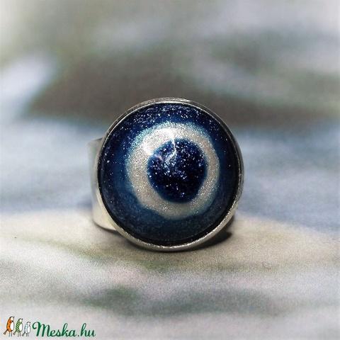 UNIKORNIS csillogó kék-fehér kerámia gyűrű - Ajándék lányoknak nőknek névnapra születésnapra - Meska.hu