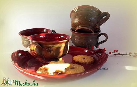 4 csésze teás -vadmeggyes (keramiko) - Meska.hu
