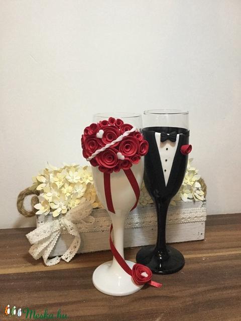 Rózsaszín  szerelem esküvői pohár pár (KicsinyCsodak) - Meska.hu