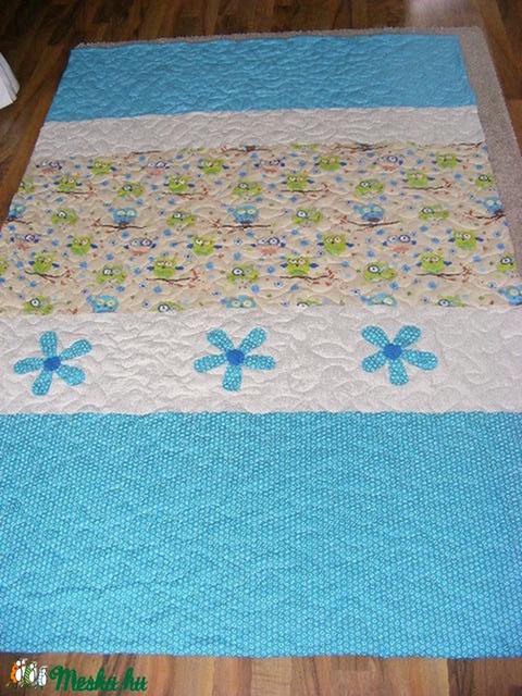 patchwork  takaró, bagoly mintás, falvédőnek is megfelel, türkiz - Meska.hu