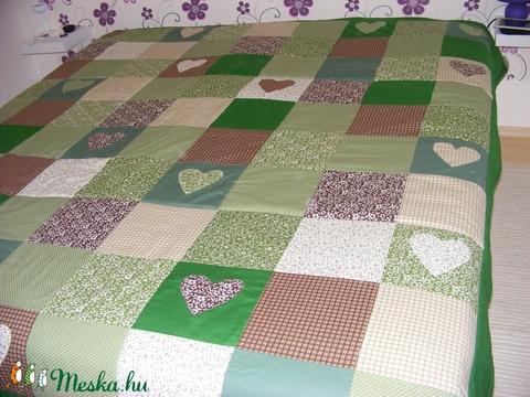 Zöld-barna kockás patchwork takaró, falvédőnek is alk. (kincsesmomka) - Meska.hu