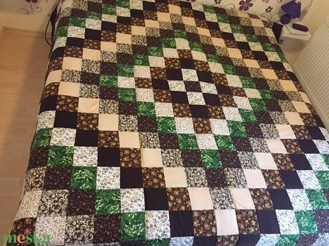 Patchwork takaró francia ágyra barna-zöld-bézs színekben (kincsesmomka) - Meska.hu