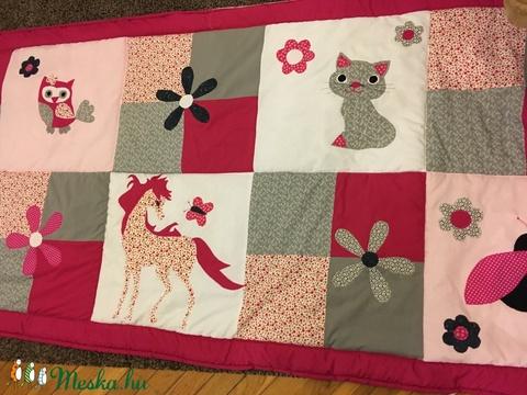 patchwork  takaró, falvédőnek is megfelel, cica, nyuszi, bagoly - Meska.hu