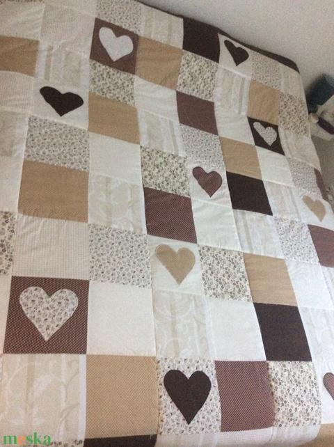 Bézs-barna kockás patchwork takaró, falvédőnek is alk. - Meska.hu