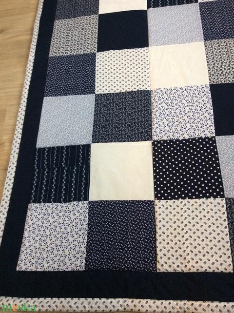 patchwork takaró,kék virágos,  (kincsesmomka) - Meska.hu