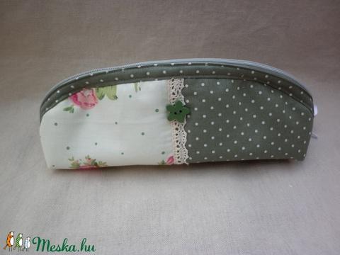 Zöld virágos tolltartó, szemüvegtartó (klara55) - Meska.hu