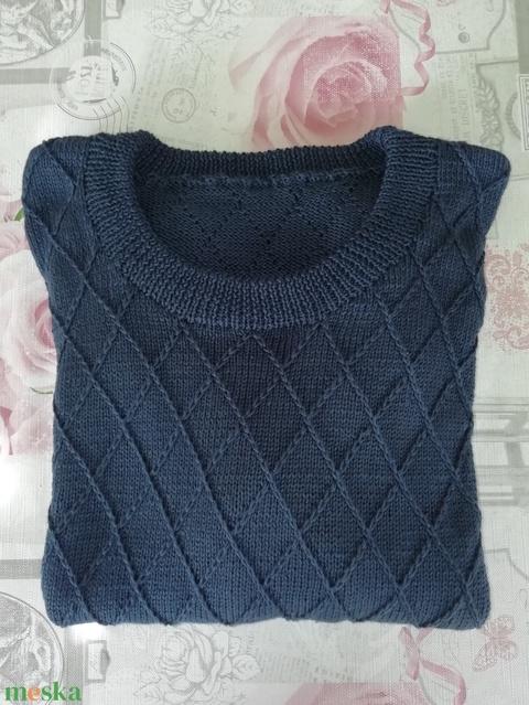 Kézzel kötött férfi gyapjú pulóver  - Meska.hu