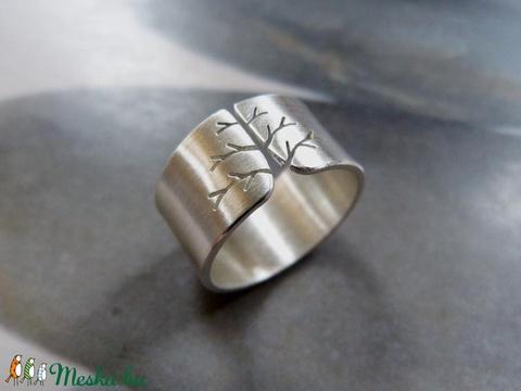 Életfa ezüst gyűrű (10mm széles, szatén)  (Kreagora) - Meska.hu