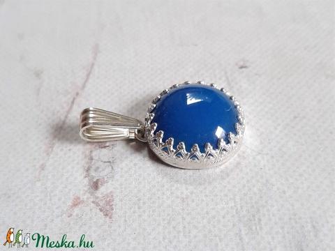 Kék achát ezüst nyaklánc - Meska.hu