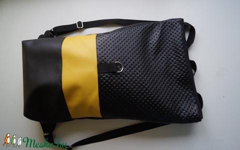 Roll up fekete-sárga hátizsák (kreativvarazs) - Meska.hu