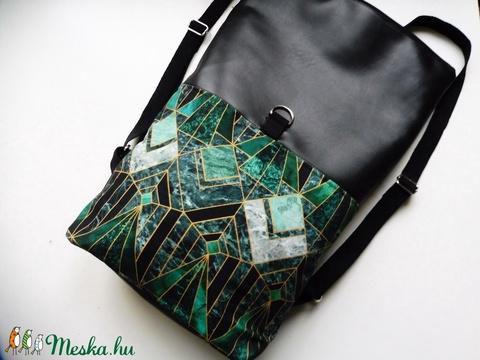 Zöld art decor roll up/roll top hátizsák - Meska.hu