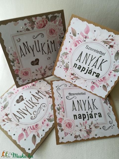 Anyák napjára - keretes virágos - képeslap 4 db - Meska.hu