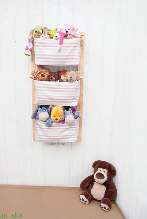 Gyerekszobai tároló - Kislányoknak - Falra szerelhető textil tartó - Játék tárolás, pelenka tartó, babaszobai tárolás (OdorsHome) - Meska.hu