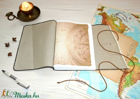 ' Indiana Jones ' Műbőr Napló A5 - Antik Térképpel! - otthon & lakás - papír írószer - jegyzetfüzet & napló - Meska.hu