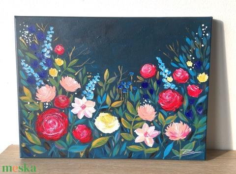 Nagyi kertje - akril festmény - Meska.hu