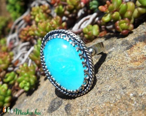 Ezüst Perui kék Opál gyűrű (Lennyhandmade) - Meska.hu