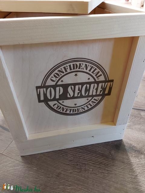 Top secret fa láda, Ajándék doboz, Születésnapi fadoboz - Meska.hu