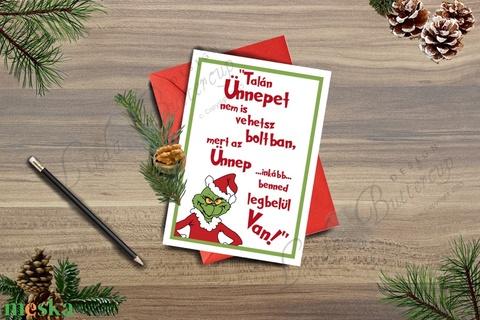 Karácsonyi Képeslap, Grincs Adventi Képeslap, Karácsonyi Dekoráció, Karácsonyi vicces üdvözlőlap  (LindaButtercup) - Meska.hu