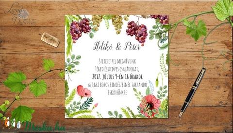 Rusztikus Esküvői meghívó, boros pince, szőlő, bor, Rusztikus Esküvői lap, tavaszi, vadvirágos meghívó - Meska.hu