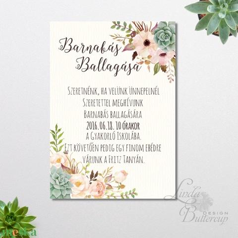 Ballagási meghívó, Elegáns meghívó, Romantikus Esküvői meghívó, Elegáns Esküvő, Vacsora meghívó (LindaButtercup) - Meska.hu