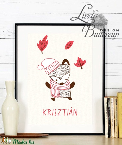 Őszi kép, Babaszoba Dekoráció, Állat festmény, Erdei állat, állatok falikép, Gyerekszoba dekor, medve, borz (LindaButtercup) - Meska.hu