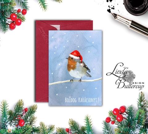Karácsonyi Képeslap, Állatos, Madár, Madaras, Adventi, Karácsonyi üdvözlőlap, Ünnepi képeslap, Mikulás (LindaButtercup) - Meska.hu