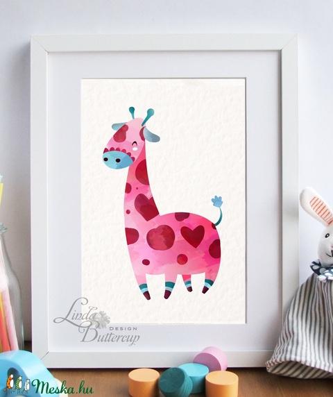 Babaszoba Falikép, Zsiráf festmény, Gyerekszoba kép, dekoráció, állat, baba kép, baby, cuki, állatos, rózsaszín, kislány - Meska.hu