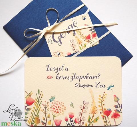 Leszel a keresztapukám,Keresztapa felkérő lap, rét, vadvirág, Keresztelő meghívó, baba lap, baby, képeslap, keresztszülő - otthon & lakás - papír írószer - képeslap & levélpapír - Meska.hu