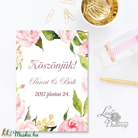 Virágos Képeslap, Egyedi, személyre szóló képeslap, névre szóló lap, vers, idézet, rózsaszín virág, üdvözlőlap, A5 (LindaButtercup) - Meska.hu