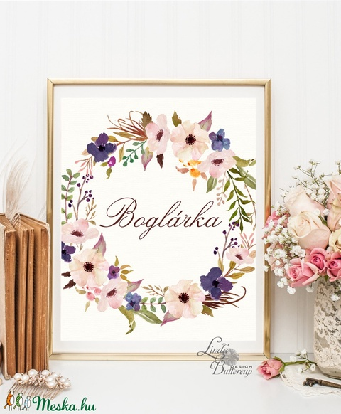 Virágkoszorú, Névre szóló, személyre szóló, Babaszoba Dekoráció, Virágos kép, virág falikép, Baba, gyerek,Gyerekszoba - otthon & lakás - dekoráció - falra akasztható dekor - Meska.hu