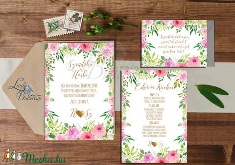 Rózsakert Esküvői meghívó, Nyári Esküvő, Rózsa, rózsás, elegáns, romantikus, virágos meghívó, vízfesték meghívó - Meska.hu