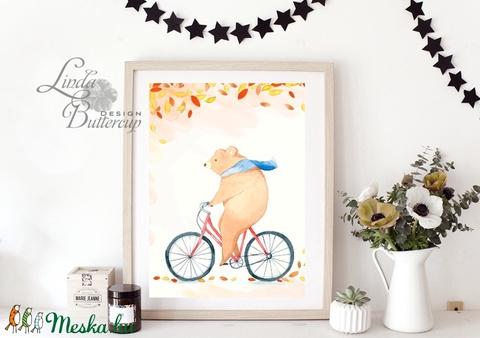 őszi Kép, babaszoba dekor, erdei állat, mackó, medve, maci,  Dekoráció, Őszi Ajtódísz, falikép, tök, dekor, ősz, őszi, - otthon & lakás - dekoráció - kép & falikép - Meska.hu
