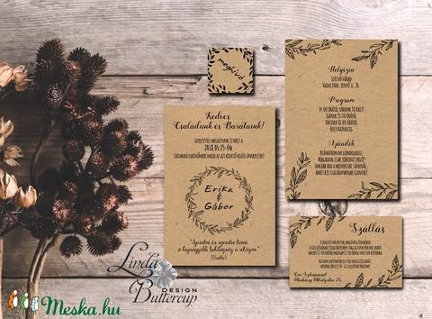 Natúr esküvői meghívó, újrahasznosított papír meghívó, barna kraft papír, kraft meghívó, egyszerű, barna, natúr esküvő - esküvő - meghívó & kártya - meghívó - Meska.hu