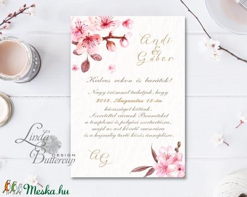 Cseresznyevirágos Esküvői meghívó, Virágos Esküvői lap, Esküvő Képeslap, rózsa lap,  rózsaszín meghívó, cseresznyefa - esküvő - meghívó & kártya - meghívó - Meska.hu