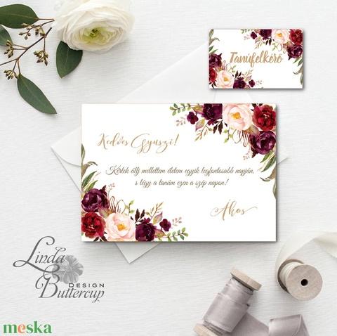 Tanú felkérő lap, koszorúslány felkérő lap, Esküvői Képeslap, virágos, rózsa, rózsás, arany, bordó, őszi, natúr, ősz (LindaButtercup) - Meska.hu