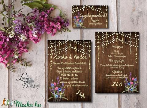 Vad Réti Virágos Esküvői meghívó, Pajta Esküvő, falu, Vintage Esküvői lap, vad virág, Rusztikus, Bohém - Meska.hu