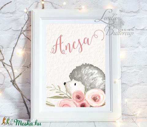 Süni névre szóló Gyerekszoba Kép, Print, állatos, babsszoba dekoráció, dekor, falikép, szülinap, erdeiállat, név, sün - otthon & lakás - dekoráció - kép & falikép - Meska.hu