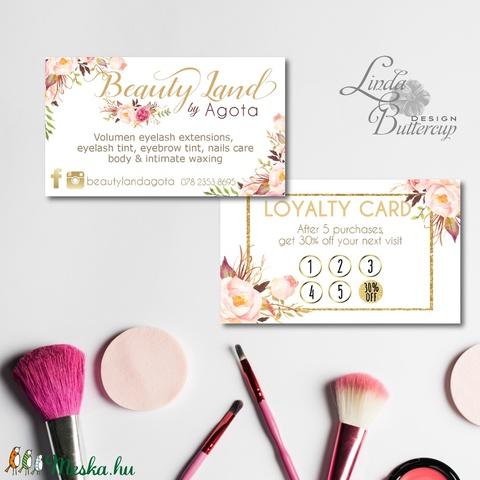 Névjegykártya, Egyedi Tervezés, sminkes, Névjegy, design, szerkesztés, virágos, logo, arany, kozmetikus, fodrász - Meska.hu