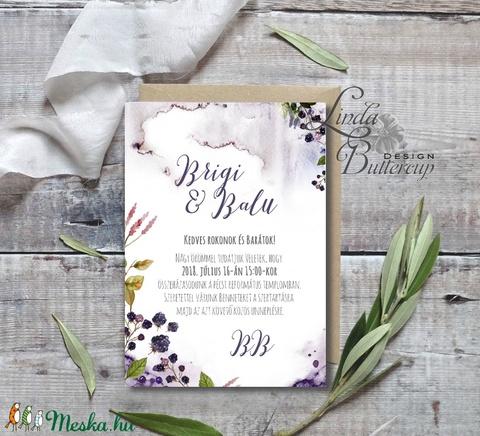 Vízfesték Esküvői meghívó, Erdei Esküvői lap, Esküvő Képeslap, Erdő meghívó, Természet közeli, bogyós, szeder, növény - Meska.hu