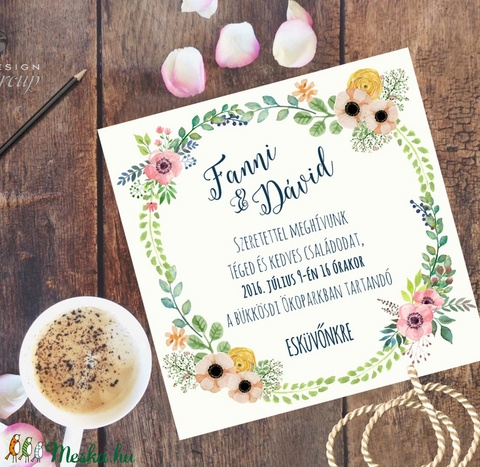 Vintage Esküvői meghívó,Rusztikus, Vintage meghívó, Rusztikus Esküvői lap, tavaszi, virágos meghívó - Meska.hu