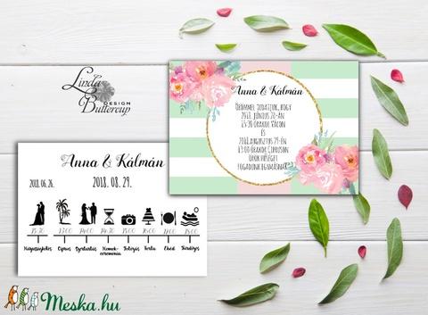 Modern Nyári Esküvői meghívó, Nyári Esküvő, Tengerpart, Beach esküvő, virágos, ciprus, zöld, pink, pasztell, núd, púder - Meska.hu