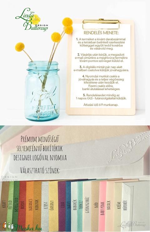 Nyári Elegáns Balatoni Esküvői meghívó, Nyári Esküvő, Tenger kék, virágok, virágos, balaton, Modern, csíkos, ciklámen - Meska.hu