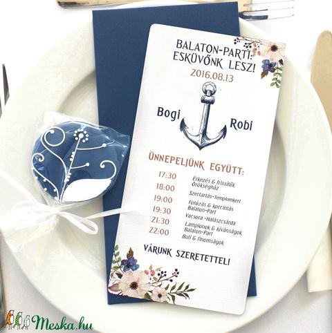 Nyári Elegáns Balatoni Esküvői meghívó, Nyári Esküvő, Tenger kék, virágok, virágos, balaton, Modern - Meska.hu